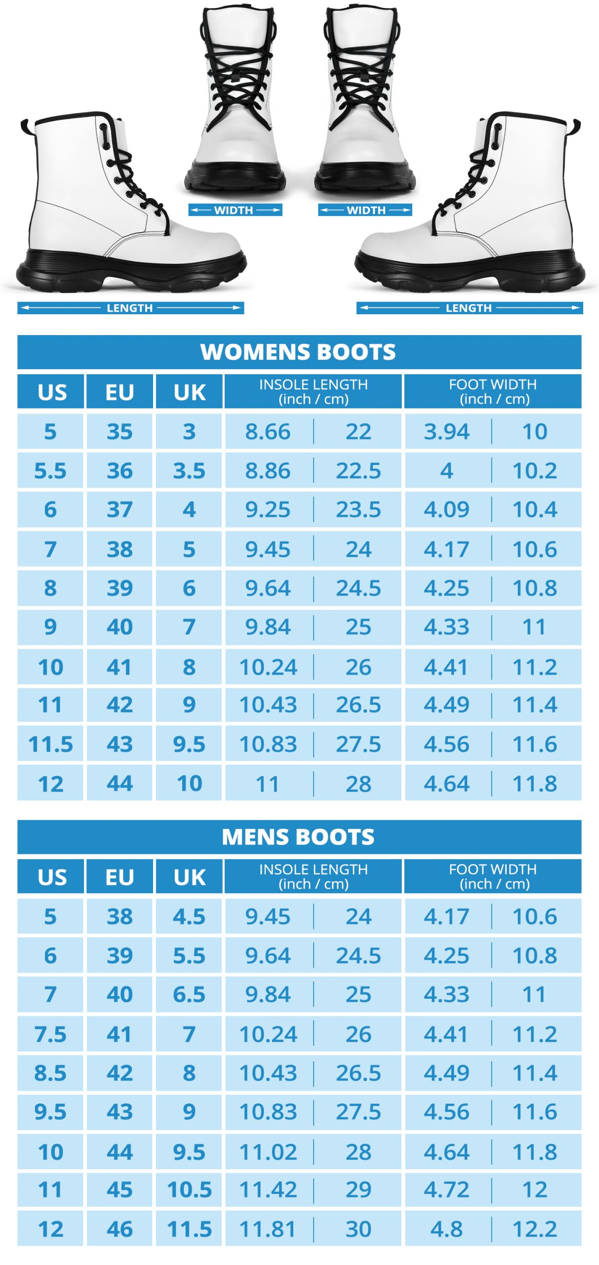 Chunky Boots Sizing